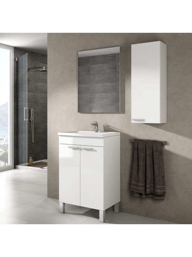 Mueble de baño de 50cm y espejo sin lavamanos . Blanco Brillo