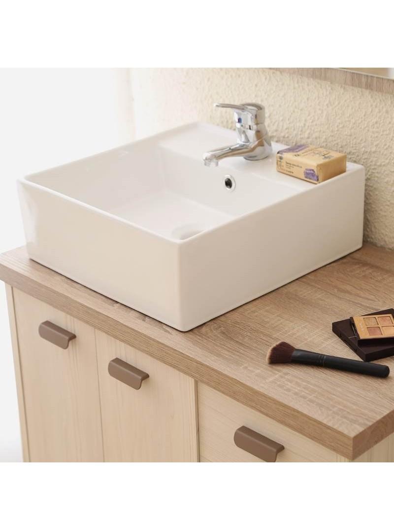 Mueble baño nórdico vintage Lya con lavabo y espejo