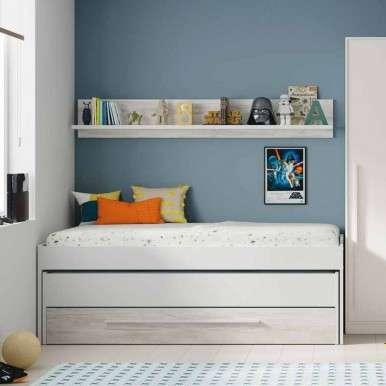 Cama nido con cajón + estante