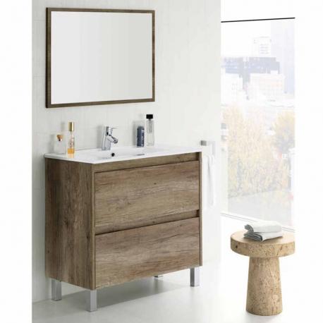 Mueble de baño y espejo Zenda color Nordik