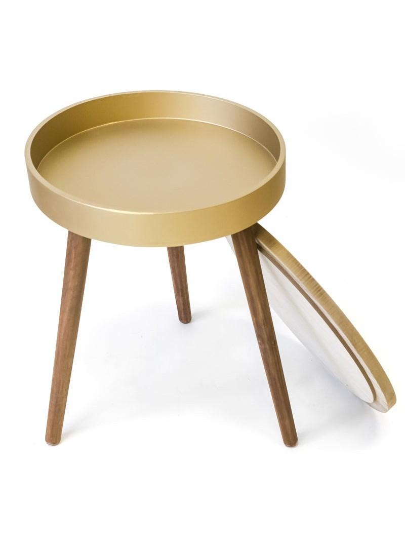 Mesita auxiliar redonda dorada