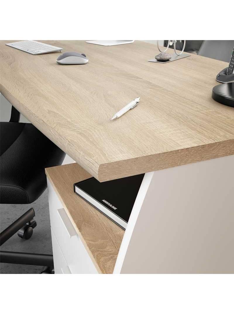 Mesa despacho Estil con buck blanco y roble