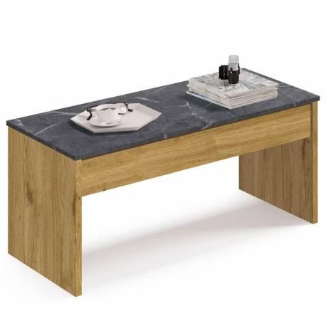 Mesa de centro elevable color roble y marmol