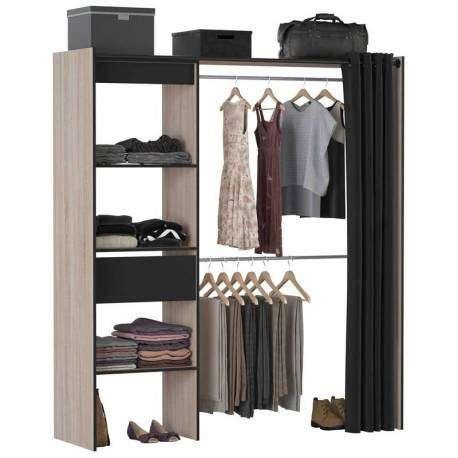 Vestidor negro y roble Chic industrial