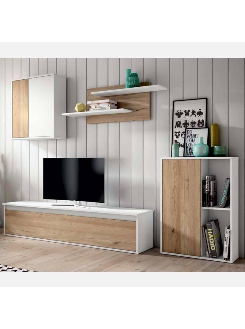 Mueble salón estilo escandinavo color blanco y natural