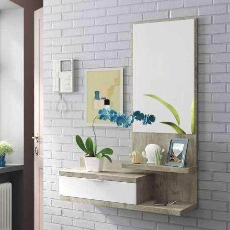 Recibidor con espejo roble y blanco