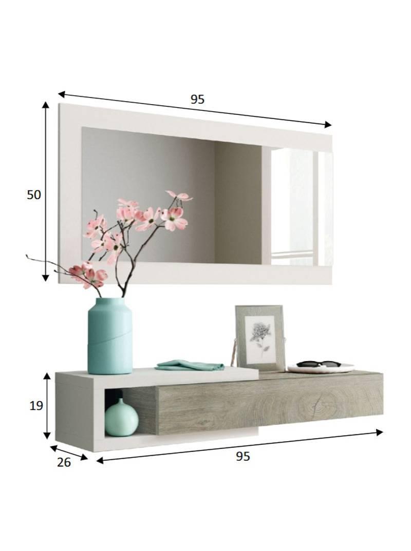 Recibidor Consola + Espejo. 95 x 19 cm.