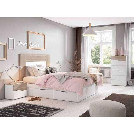 Cabecero Luce color sable y blanco