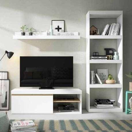 Mesa de TV Elis color blanco y naturale