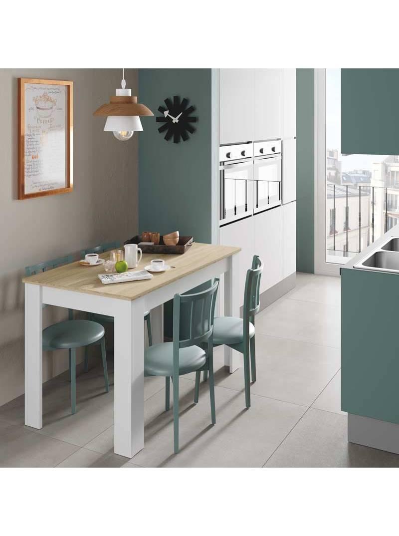 Mesa auxiliar fija Cloe roble y blanco cocina