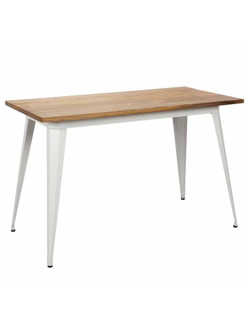 Mesa estilo industrial blanca cocina