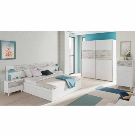 Armario ropero 2 puertas color blanco y vintage