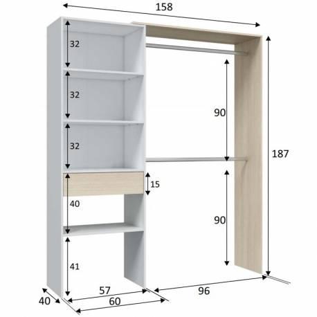 Vestidor 2 barras 1 cajón color roble y blanco
