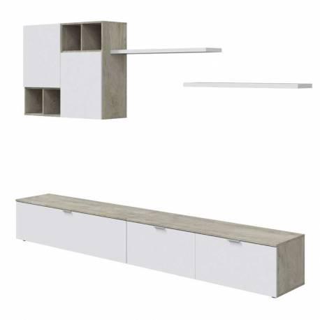 Mueble salón modular Evo blanco y roble alaska
