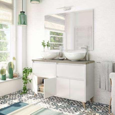 Mueble baño doble 2 cajones 4 puertas