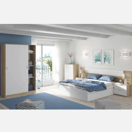 Pack dormitorio Alaya completo blanco y roble
