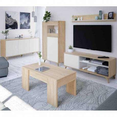 Vitrina Kikua Plus color roble y blanco salón