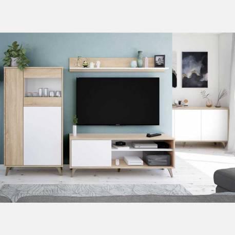 Pack salón Kikua Plus estilo nórdico roble y blanco artik