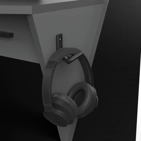 Mesa gamer Skin gris y negro soporte cascos