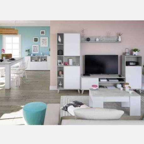 Pack de muebles para salón completo color blanco y cemento