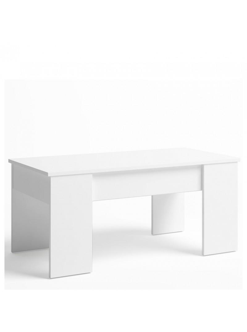 Mesa centro elevable Nieve color blanco