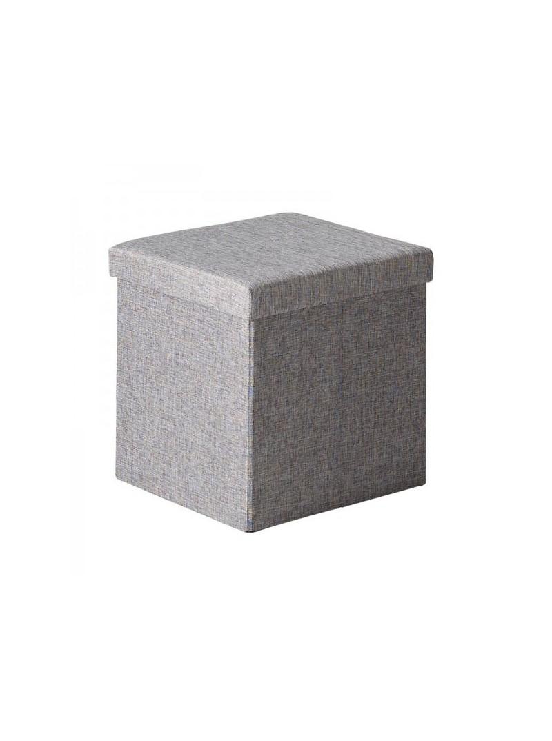 Pouf cuadrado almacenaje gris