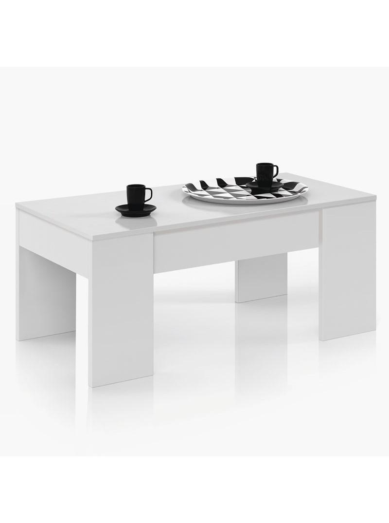 Mesa de centro elevable blanco mate